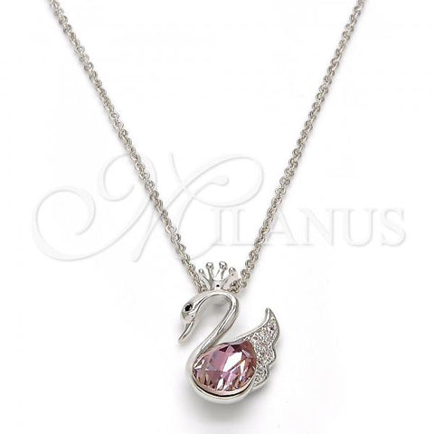 Rhodium Plated Pendant Necklace, Swan and Crown Design, with Swarovski Crystals and Micro Pave, Rhodium Tone