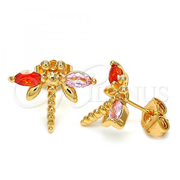 Gold Layered 02.345.0001 Stud Earring, Dragon-Fly Design, with Pink and Orange Red Cubic Zirconia, Polished Finish, Golden Tone