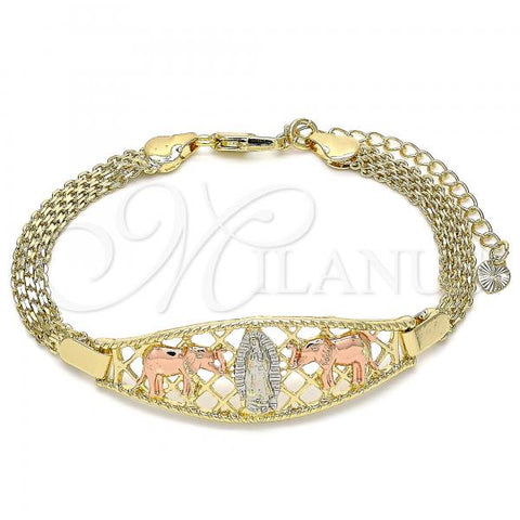 Gold Layered 03.380.0025.07 Fancy Bracelet, Guadalupe and Elephant Design, Polished Finish, Tri Tone