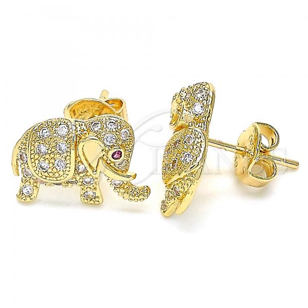Gold Layered 02.199.0029 Stud Earring, Elephant Design, with White and Ruby Micro Pave, Polished Finish, Golden Tone