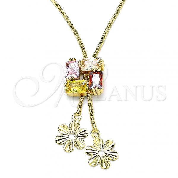 Gold Layered 04.347.0008.20 Fancy Necklace, Flower Design, with Multicolor Cubic Zirconia, Polished Finish, Golden Tone