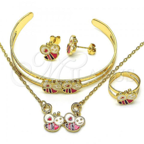 Gold Layered 06.361.0002 Necklace, Bracelet, Earring and Ring, Bee and Heart Design, Multicolor Enamel Finish, Golden Tone