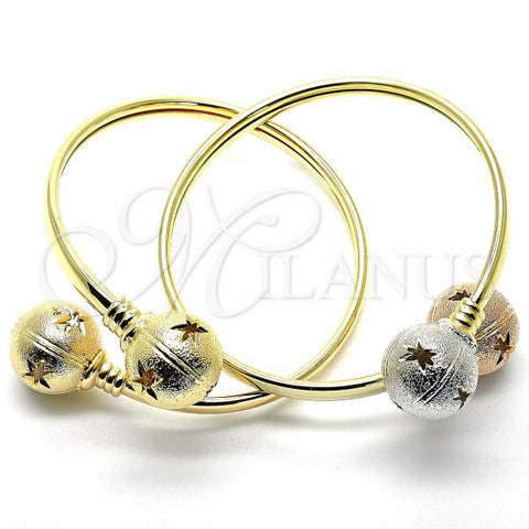 Gold Layered Individual Bangle, Ball and Hollow Design, Tri Tone