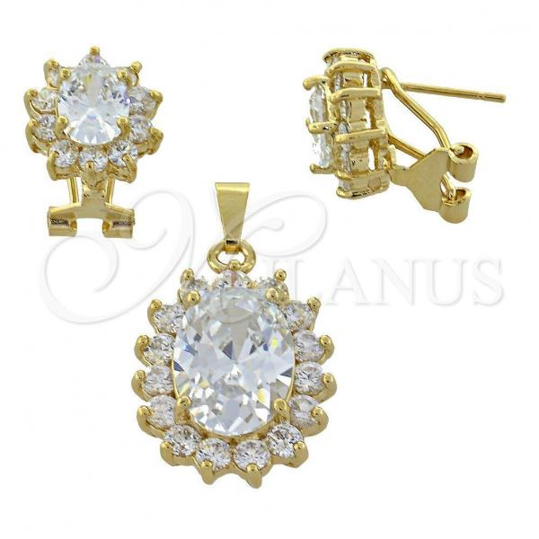 Gold Layered 5.055.002 Earring and Pendant Adult Set, with  Cubic Zirconia, Golden Tone