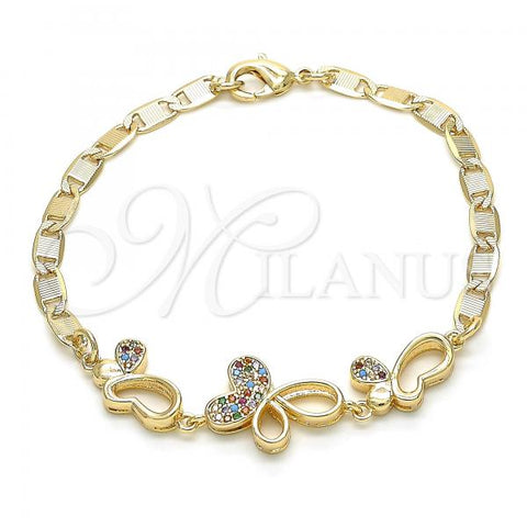 Gold Layered 03.233.0040.08 Fancy Bracelet, Butterfly Design, with Multicolor Cubic Zirconia, Polished Finish, Golden Tone