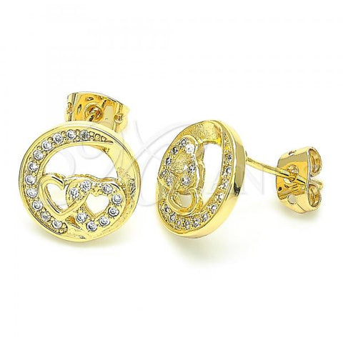 Gold Layered 02.156.0397 Stud Earring, Heart Design, with White Cubic Zirconia, Polished Finish, Golden Tone