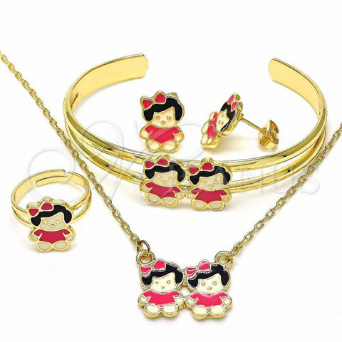 Gold Layered 06.361.0019 Necklace, Bracelet, Earring and Ring, Little Girl Design, Pink Enamel Finish, Golden Tone