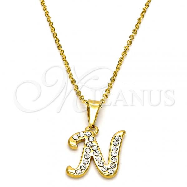 Stainless Steel Pendant Necklace, Initials and Rolo Design, with Crystal, Golden Tone