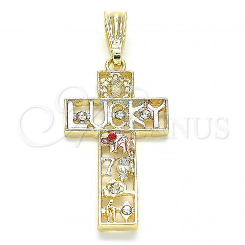 Gold Layered 05.351.0058 Religious Pendant, Cross and Owl Design, with Garnet and White Crystal, Polished Finish, Tri Tone