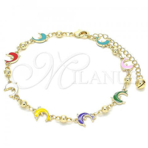 Gold Layered 03.213.0088.10 Fancy Anklet, Dolphin Design, Multicolor Enamel Finish, Golden Tone