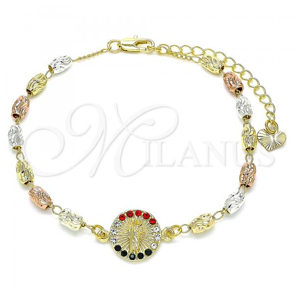 Gold Layered 03.253.0058.1.07 Fancy Bracelet, San Judas Design, with Multicolor Crystal, Diamond Cutting Finish, Tri Tone