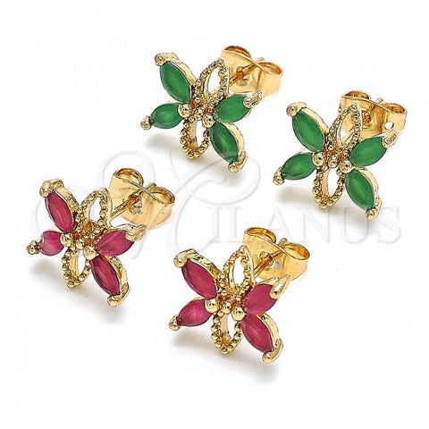 Gold Layered Stud Earring, Flower Design, with Cubic Zirconia, Golden Tone