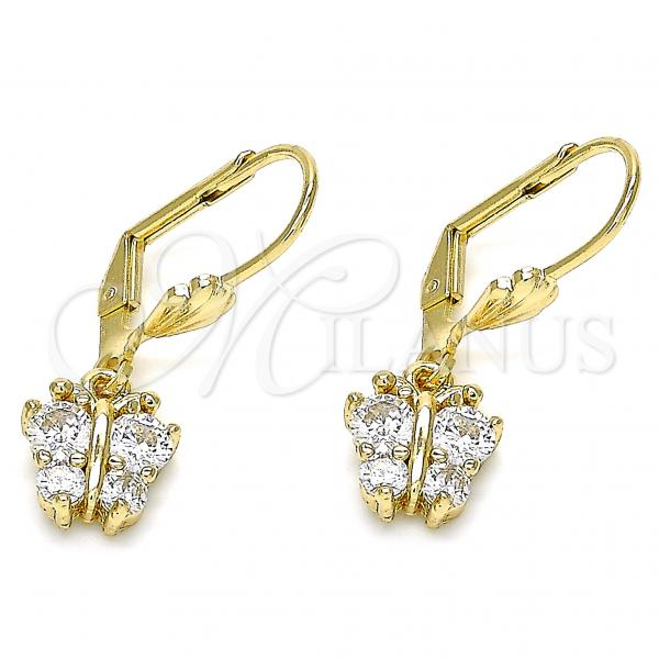 Gold Layered 02.210.0346 Dangle Earring, Butterfly Design, with White Micro Pave, Polished Finish, Golden Tone