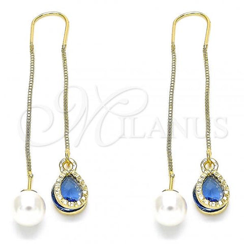 Gold Layered 02.351.0093.4 Threader Earring, Teardrop Design, with Sapphire Blue Cubic Zirconia, Polished Finish, Golden Tone
