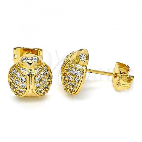 Gold Layered 02.377.0020 Stud Earring, Ladybug Design, with White Micro Pave, Polished Finish, Golden Tone
