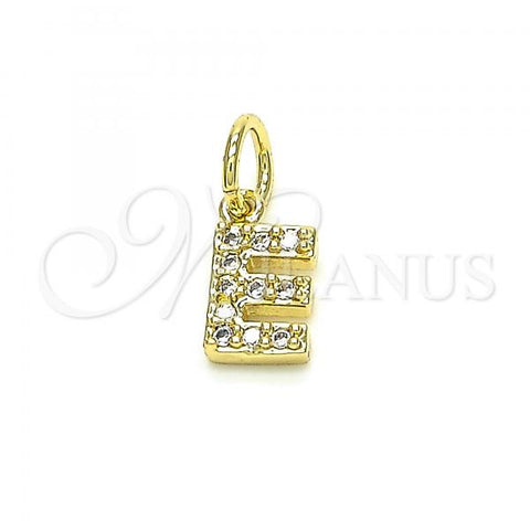 Gold Layered 05.341.0025 Fancy Pendant, Initials Design, with White Cubic Zirconia, Polished Finish, Golden Tone