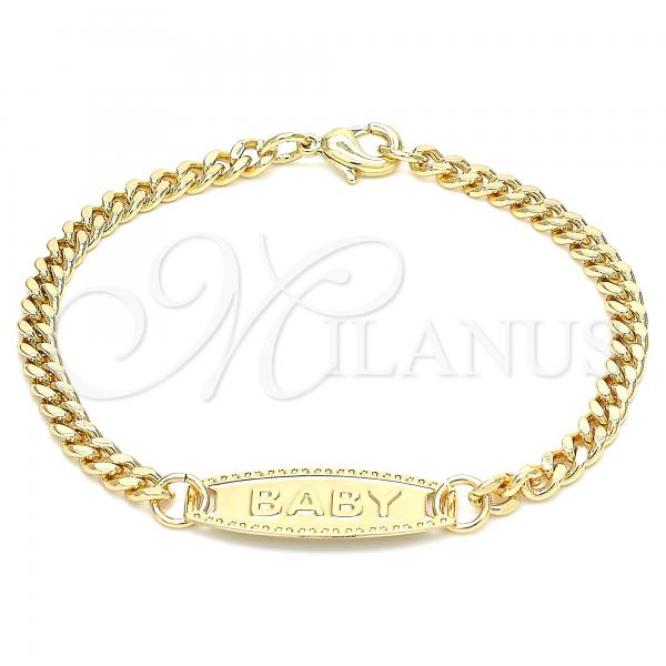 Gold Layered 03.63.2164.06 ID Bracelet, Miami Cuban Design, Polished Finish, Golden Tone