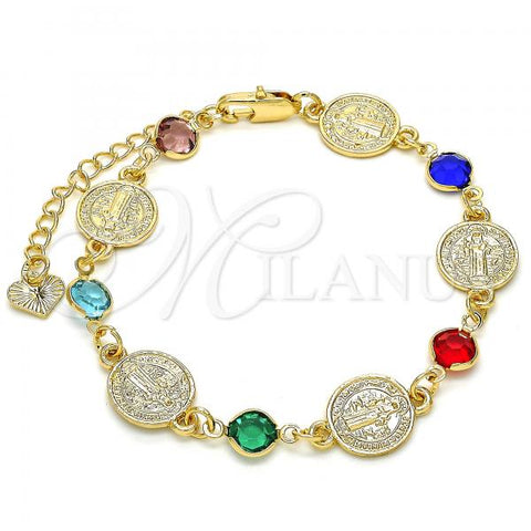 Gold Layered 03.351.0001.07 Fancy Bracelet, San Benito Design, with Multicolor Crystal, Polished Finish, Golden Tone