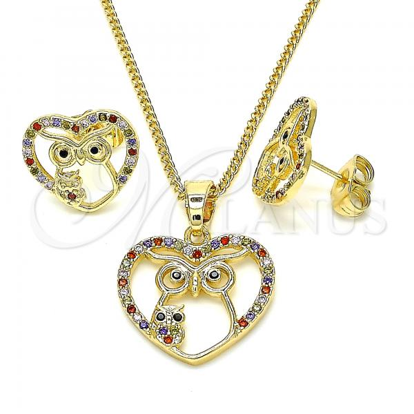 Gold Layered 10.316.0043 Earring and Pendant Adult Set, Heart and Owl Design, with Multicolor Micro Pave, Polished Finish, Golden Tone