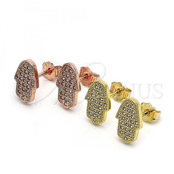 Sterling Silver Stud Earring, Hand of God Design, with Micro Pave, Golden Tone