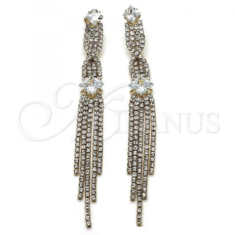 Gold Layered 02.268.0070 Long Earring, with White Cubic Zirconia and White Crystal, Polished Finish, Golden Tone