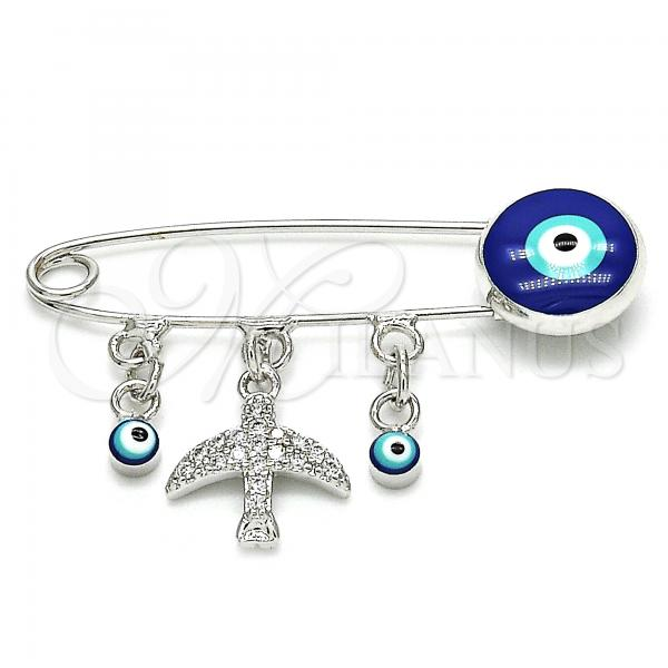 Rhodium Plated 13.60.0008 Basic Brooche, Greek Eye and Bird Design, with White Cubic Zirconia, Blue Enamel Finish, Rhodium Tone