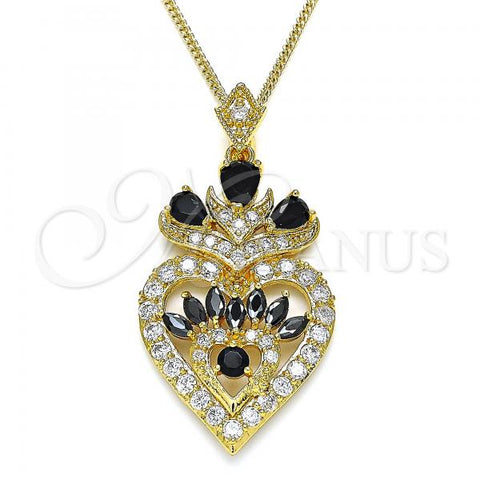 Gold Layered 04.283.0026.1.20 Fancy Necklace, Heart and Teardrop Design, with Black and White Cubic Zirconia, Polished Finish, Golden Tone