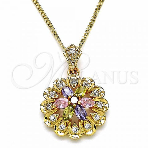 Gold Layered 04.346.0012.20 Fancy Necklace, Flower Design, with Multicolor Cubic Zirconia, Polished Finish, Golden Tone