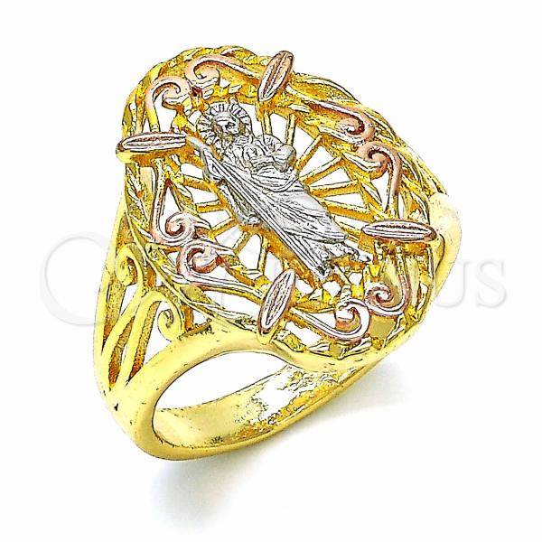 Gold Layered Elegant Ring, San Judas Design, Tri Tone