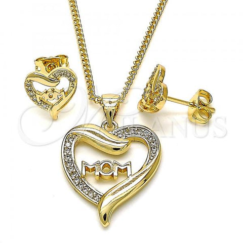 Gold Layered 10.342.0030 Earring and Pendant Adult Set, Mom and Heart Design, with White Micro Pave, Polished Finish, Golden Tone