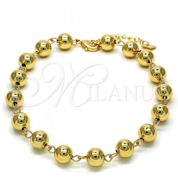 Gold Layered 03.93.0011.10 Fancy Anklet, Ball Design, Polished Finish, Golden Tone