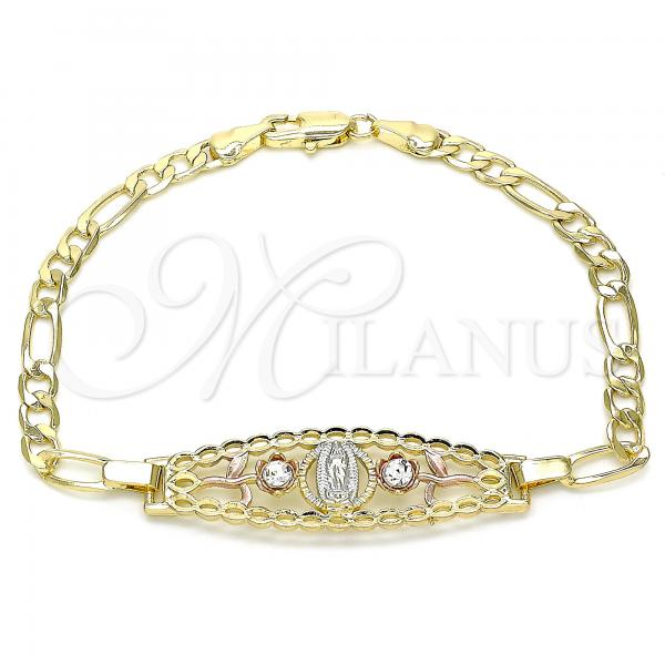 Gold Layered 03.351.0088.1.08 Fancy Bracelet, Guadalupe and Flower Design, with White Crystal, Polished Finish, Tri Tone