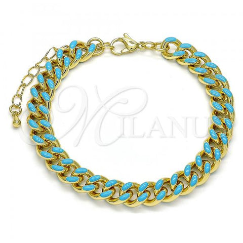 Gold Layered 03.341.0075.4.07 Basic Bracelet, Miami Cuban Design, Turquoise Enamel Finish, Golden Tone