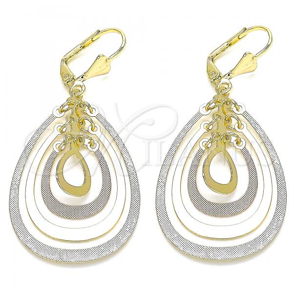 Gold Layered 02.351.0067 Long Earring, Teardrop Design, Polished Finish, Tri Tone