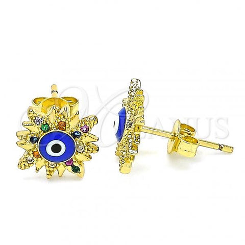 Gold Layered 02.381.0003 Stud Earring, Greek Eye Design, with Multicolor Micro Pave, Blue Enamel Finish, Golden Tone