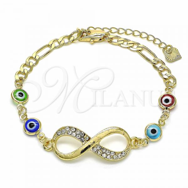 Gold Layered 03.351.0064.07 Fancy Bracelet, Infinite and Greek Eye Design, with White Crystal, Polished Finish, Golden Tone