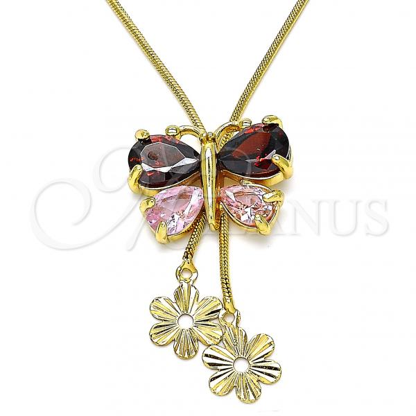Gold Layered 04.347.0007.1.20 Fancy Necklace, Butterfly and Flower Design, with Garnet and Pink Cubic Zirconia, Polished Finish, Golden Tone