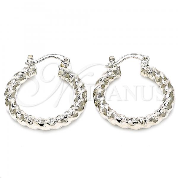 Rhodium Plated 02.170.0108.2.25 Small Hoop, Twist Design, Diamond Cutting Finish, Rhodium Tone