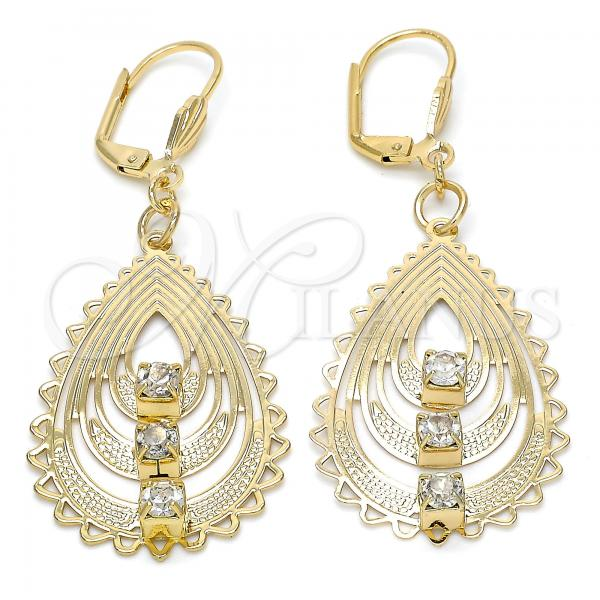 Gold Layered 061.002 Dangle Earring, Teardrop Design, with White Crystal, Polished Finish, Golden Tone