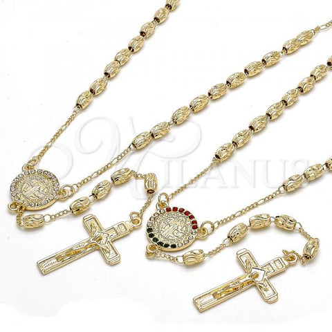 Gold Layered Thin Rosary, San Benito and Crucifix Design, with Crystal, Golden Tone