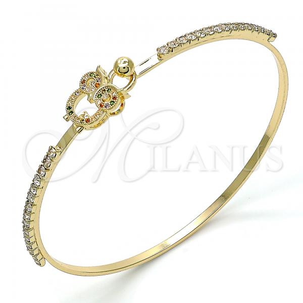 Gold Layered 07.193.0025.1.04 Individual Bangle, Owl Design, with Multicolor Micro Pave and White Crystal, Polished Finish, Golden Tone (02 MM Thickness, Size 4 - 2.25 Diameter)