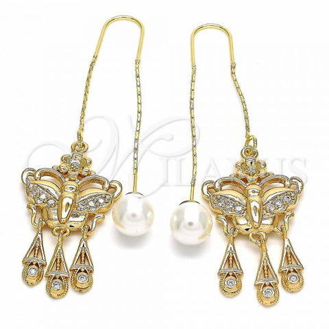 Gold Layered 02.323.0079 Threader Earring, Butterfly and Flower Design, with White Cubic Zirconia, Polished Finish, Golden Tone