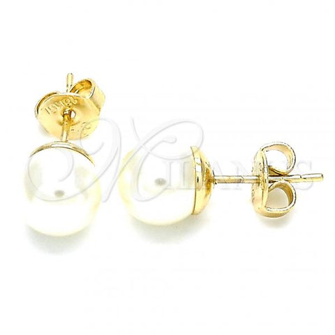 Gold Layered 02.63.2124 Stud Earring, Ball Design, with Ivory Pearl, Polished Finish, Golden Tone