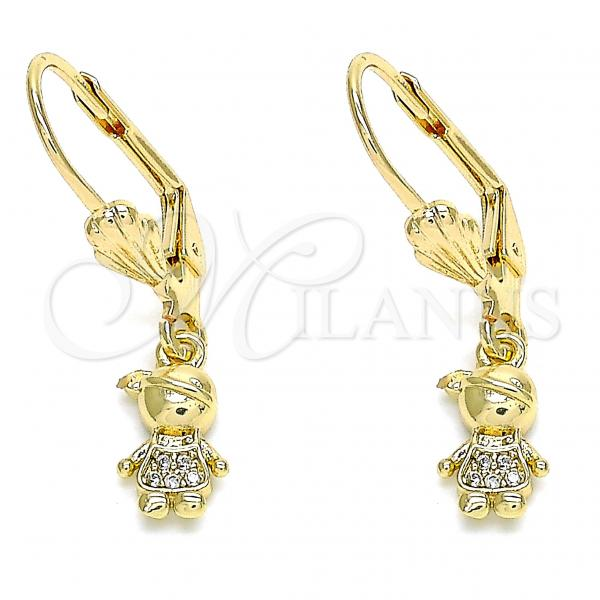 Gold Layered 02.316.0065 Dangle Earring, Little Boy Design, with White Micro Pave, Polished Finish, Golden Tone