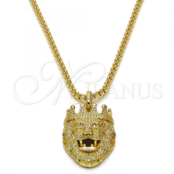 Gold Layered 04.242.0057.30 Fancy Necklace, Lion Design, Polished Finish, Golden Tone