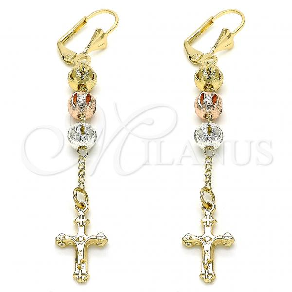 Gold Layered 02.351.0061 Long Earring, Crucifix Design, Polished Finish, Tri Tone