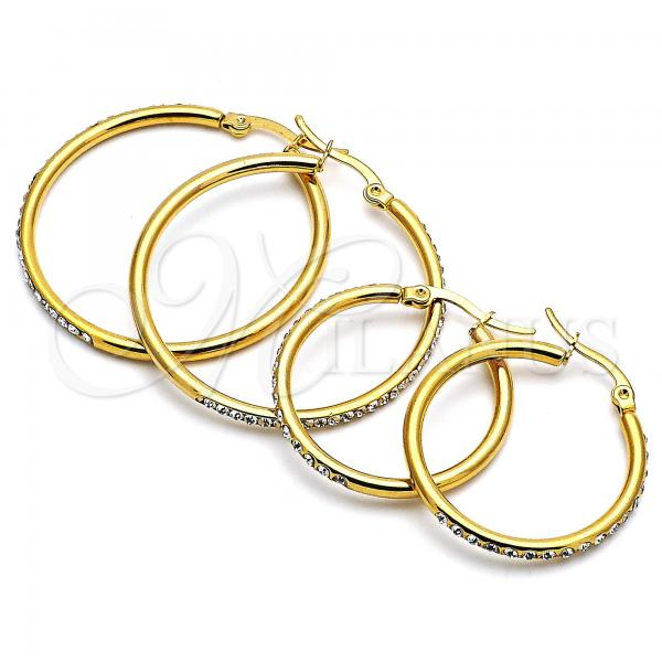 Stainless Steel Medium Hoop, with Crystal, Golden Tone with Crystal, Golden Tone