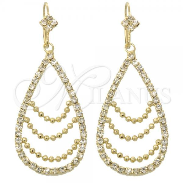 Gold Layered 5.063.003 Long Earring, Teardrop Design, with White Cubic Zirconia, Polished Finish, Golden Tone