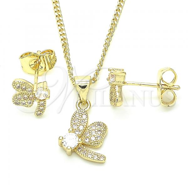 Gold Layered 10.199.0152 Earring and Pendant Adult Set, Dragon-Fly Design, with White Cubic Zirconia and White Micro Pave, Polished Finish, Golden Tone