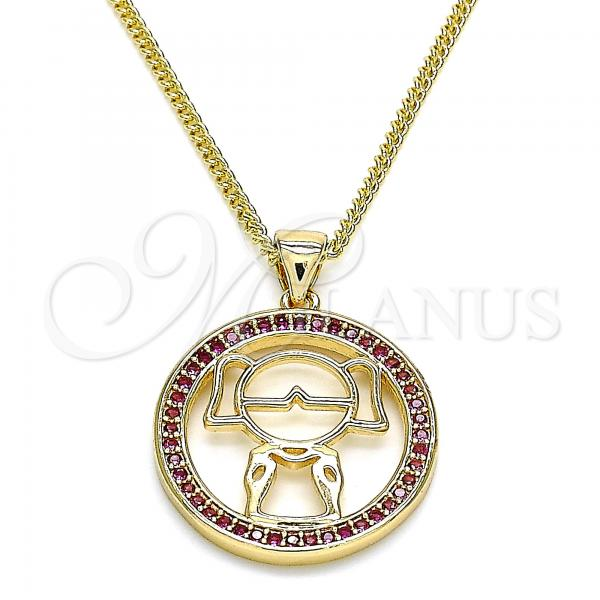Gold Layered 04.156.0105.2.20 Pendant Necklace, Little Girl Design, with Ruby Micro Pave, Polished Finish, Golden Tone